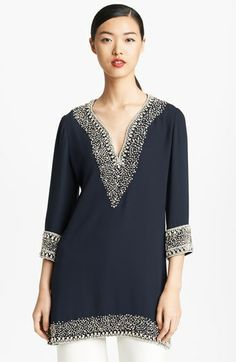 Naeem Khan Crystal Beaded Double Georgette Tunic | Nordstrom $3999.