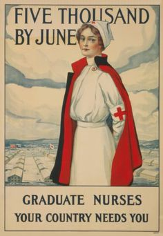 Red Cross Nurse in Uniform Poster Member Drive Ad WWI Rakeman Nursing Print 547 | eBay
