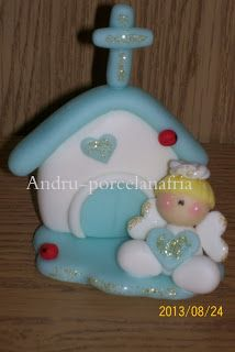 Andru Porcelana Fría: Angelitos con capilla Souvenirs Pasta Flexible, Cold Porcelain, Fondant, Biscuits, Polymer Clay, Baby Shower, Christmas Ornaments, Holiday Decor, Diy