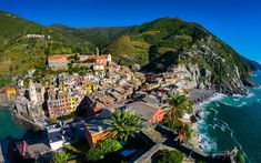 Download wallpapers Vernazza, Spice, view from above, rocks, Mediterranean Sea, summer, travel, Italy, Liguria