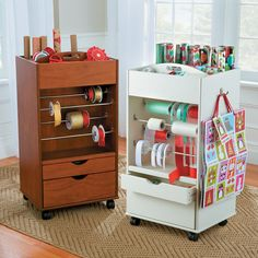 Portable Gift Wrap Station – Pack this convenient wrapping paper storage unit full with wrapping paper rolls, ribbons and gift bags. Its 2 drawers will hold all of your wrapping supplies. Just roll it around when you're ready to start wrapping.
