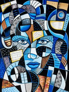 Portraits | The Artwork of Steven Schuman Cubist Paintings, Cubist Art, African Art Paintings, Kunst Picasso, Picasso Art, Abstract Face Art, Geometric Painting, Art And Illustration, Art Africain
