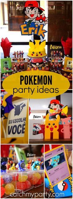 What an awesome Pokemon boy birthday party! See more party ideas at Catchmyparty.com!
