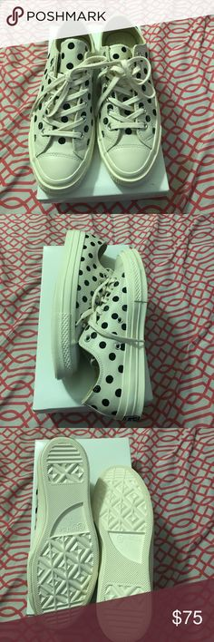 Leather converse. Polka dot leather converse. Color: cream/black. Women's size 8. Converse Shoes Sneakers