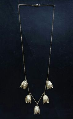 "GABRIELLE'S AMAZING FANTASY CLOSET | Sterling Silver Tulip Necklace on a 24"" Chain with Tiny Ball Stations."