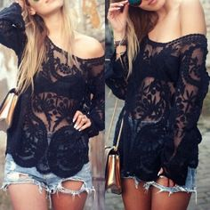 Sheer Crochet Top Blogger's favorite! Featuring long sleeves, scoop neck and scalloped hem. Unlined. Model is 34C - 25 - 35 and wears a Small. UptownGal Tops Blouses