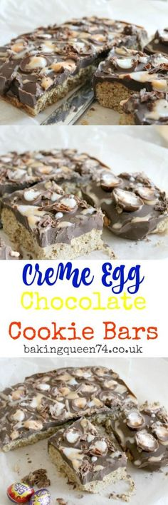 Creme egg chocolate cookie bars, your favourite Creme Eggs on a thick cookie covered in deep milk chocolate!