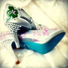 Wedding Shoes St Patrick's Tiffany blue soles clover by norakaren, $305.00