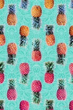 pinapple wallpaper iphone - From Pineapple to Pink tropical doodle pattern on mint' Photographic Print by micklyn Cute Backgrounds, Cute Wallpapers, Wallpaper Backgrounds, Wallpaper Doodle, Print Wallpaper, Iphone Wallpapers, Handy Wallpaper, Pattern Wallpaper, Doodle Patterns