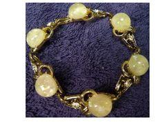 Vintage Coro Bracelet Opal or Moonstone with Rhinestones