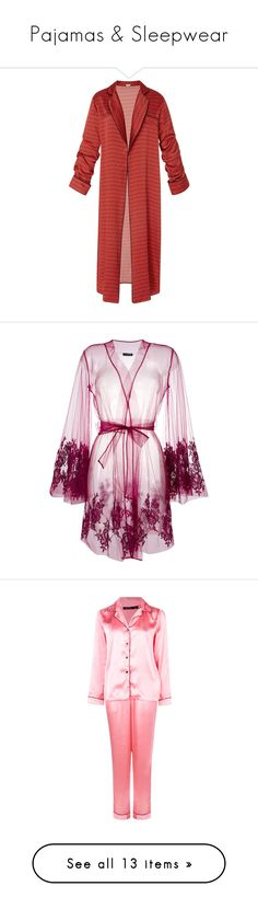 """""""Pajamas & Sleepwear"""" by divinatas ❤ liked on Polyvore featuring intimates, robes, coats, robe, print, bath robes, patterned robes, silk satin robe, dressing gown and sleepwear"""