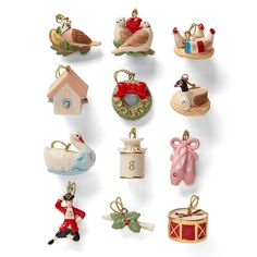 The Twelve Days of Christmas Ornament Set depicts all the scenes from the famous Christmas carol. Product Features Twelve Ornaments Gold hanging cords Porcelain Height: Ornaments up to 1 Lenox Christmas Ornaments, Ceramic Christmas Decorations, Christmas Figurines, Holiday Decor, Antique Christmas, Xmas Decorations, Holiday Fun, Holiday Gifts, Twelve Days Of Christmas