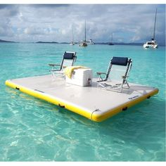 The Solstice Inflatable Floating Dock is a durable activity platform to use at the lake or in your pool. Made from durable 1000 Denier 3 ply PVC reinforced fabric material, it is durable for most water activities. Lake Floats, Pool Floats, Photo Ocean, Photo Summer, Summer Fun, Floating Dock, Floating Island Raft, Floating Canopy, Floating Pontoon