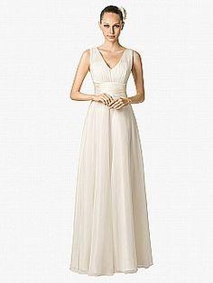 Pleated Sleeveless V Neck Chiffon A Line Bridal Dress - USD $129.99