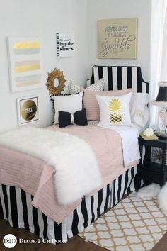Custom dorm bedding and dorm room decor. Shop this years hottest dorm room trend. Custom dorm bedding and dorm room decor. Shop this years hottest dorm room trends. Get inspired wit Pink Dorm Rooms, Boho Dorm Room, Cute Dorm Rooms, College Dorm Rooms, Dorm Bedding Sets, Bedding Storage, Blue Bedding, Cute Room Decor, Fashion Room
