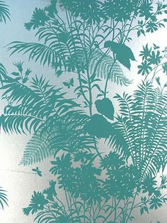 Florence Broadhurst 'Shadow Floral' CO58 wallpaper in turquoise blue on brushed silver 10m roll UNTRIMMED