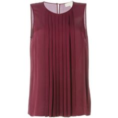 Michael Michael Kors Pleated Sleeveless Top ($95) ❤ liked on Polyvore featuring tops, pleated tank top, purple tank, pleated top, silk top and sleeveless tank tops
