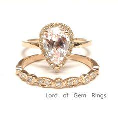 $699 Pear Morganite Engagement Ring Sets Pave Diamond Wedding 14K Rose Gold 6x9mm
