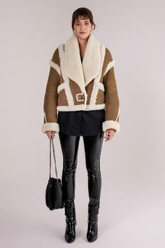 Shearling leather jacket with sophisticated and contrast wool stripe details. Shawl, soft wool collar and wool end cuffs. Minimal, single button closure with stripes design. Leather Boots, Leather Jacket, Shearling Vest, Stripes Design, Furs, Shawl, Contrast, Winter Fashion, Minimal