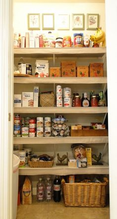 interesting concept. Take wire pantry shelves and add drop cloth to front of them and lay laminate tiles on top of shelf. A lot of work but sometimes those shelves drive me batty.
