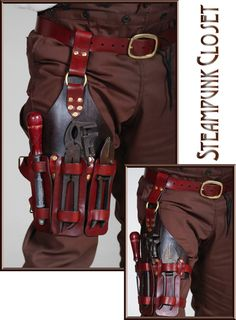 Steampunk shoulder holster by DocStonesTinkering on Etsy Steampunk Mechanic, Mode Steampunk, Steampunk Cosplay, Steampunk Fashion, Leather Armor, Leather Tooling, Leather Tool Belt, Steampunk Accessories, Leather Accessories