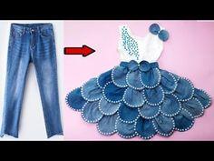 تحويل جديد من بنطلون جينز لفستان طفله رررررررررهيب للغااايه - YouTube