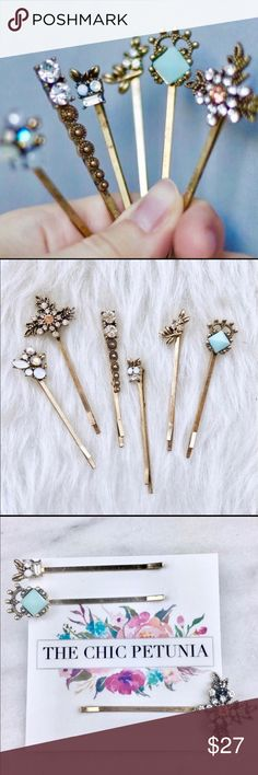 🌺Rhinestone & Gem Hair Pins 🌺 Antiqued Gold Plated Hairpins with Rhinestones & Gems. Beautiful in your hair to pin your hair back or to accent an updo.  This is for 6 hairpins.  *Note: Color May vary slightly due to lighting. The Chic Petunia Accessories Hair Accessories