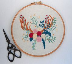 Hand stitch embroidery hoop art Flower by RedWorkStitches on Etsy