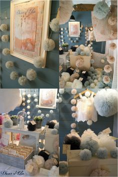 Tulle pom pom also can do with lights! Tulle Crafts, Pom Pom Crafts, Big Flowers, Paper Flowers, Tulle Poms, Pom Poms, Crafts To Do, Home Crafts, Princess Tea Party