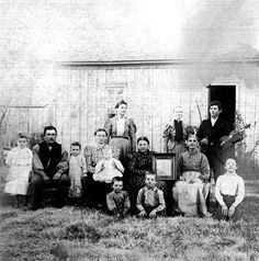 Obediah's youngest sister - Believe this to be a photo of: Adults sitting Douglas Fish, unknown, Marth Jane Smith Fish, Frances Clark Fish Adults standing Bernina Fish Nix, Eliozia, Daniel W Fish Picture Martha is beleived to be a scetch of John Houston Fish