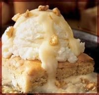 Applebees Blondie with Maple Butter Sauce recipe. Havent tried it yet, was going to make the sauce for regular brownies, but halfway through realized I dont have brown sugar!    This is so yummy!!