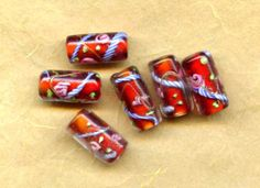 Six Red Intricate Millefiore Vintage Glass Beads, Encased, 16x9mm