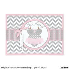Baby Girl Tutu Chevron Print Baby Shower Card