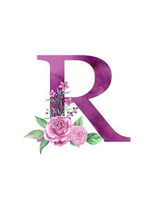& R Lovely Rose Bouquet& Poster by floralmonogram - Monogram R accompanied by a beautiful bouquet of pink roses. Perfect monogram design on shirts, clo - Alphabet Letters Design, Alphabet Art, Monogram Letters, Monogram Wallpaper, Alphabet Wallpaper, Disney Wallpaper, Flower Wallpaper, Iphone Wallpaper, Monogram Design