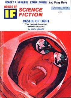 """If vol 14 no October Cover by Paul E. Wenzel illustrating """"Monster Tracks"""" by Robert E. Pulp Magazine, Magazine Art, Fiction Novels, Pulp Fiction, Monster Track, Psychedelic Space, Science Fiction Magazines, Japanese Monster, Free Text"""