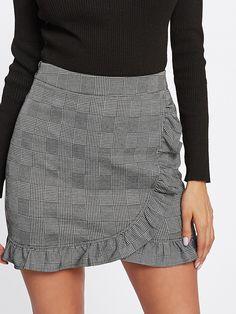 Shop Frill Trim Plaid Wrap Skirt online. SheIn offers Frill Trim Plaid Wrap  Skirt   30bb7d2515ea