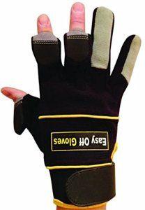 Gants spécialisés velcro (avec bouts des doigts repliables) par Easy Off Gloves – Idéal pour les constructeurs, commerçant, électriciens,…