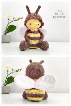 Doll Amigurumi Free Pattern, Doll Patterns Free, Crochet Animal Amigurumi, Amigurumi Doll, Diy Crochet Doll, Crochet Bee, Crochet Dragon, Cute Crochet, Crochet Projects