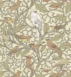 """Pop Mob Scene by CFA Voysey circa 1929. This design was sold as both a wallpaper and textile pattern. The central figure of the owl is being """"mobbed"""" by the surrounding smaller birds."""