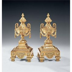 Antique Brass Andirons by Decorative Crafts on HomePortfolio