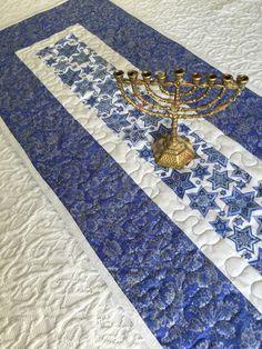 Hanukkah Table Runner Quilt  Blue  White  Channukah by KeriQuilts