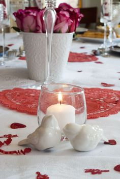 Valentine's Day Table Display; Love Birds