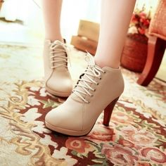 Spring Autumn Round Toe Stiletto High Heel Lace Up Ankle Beige Martens Boots_Boots_Womens Shoes_Cheap Clothes,Cheap Shoes Online,Wholesale Shoes,Clothing On lovelywholesale.com - LovelyWholesale.com
