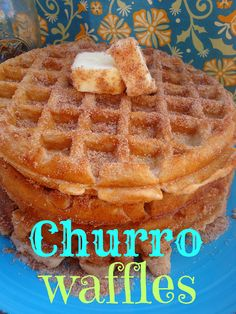 Make waffle batter & bake waffles in preheated   waffle iron. When baked, immediately pour melted butter on each side of waffle & dip into churro mixture. Churro Topping:  1 c white sugar,  1/2 c cinnamon,  1/2 c melted butter. Another waffle maker awesome recipe