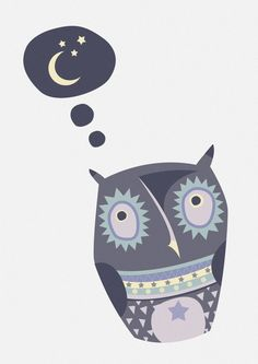Big Eyed Night Owl Art Print A4 children's room by CTIllustration