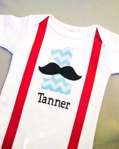Little Man Suspenders Personalized Mustache by WeChooseJoy on Etsy, $24.95