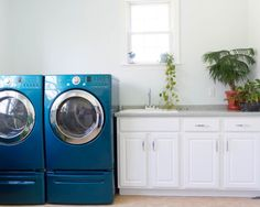 clean white laundry room with bright blue appliances home remodel kitchen bathroom bright modern laundry room