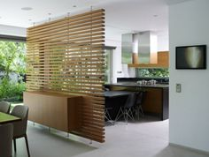 Warm and Elegant Wooden Room Divider — Home Furniture Ideas Office Dividers, House Design, Interior, Home, Living Dining Room, Diy Apartments, House Interior, Room Divider, Wooden Room Dividers