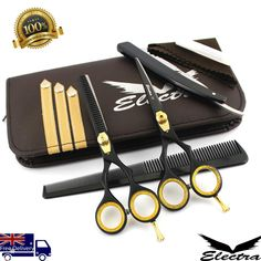 Professional Barber Hairdressing Scissors Thinning & Hair Cutting Set Black for sale online Thin Hair Cuts, Thinning Hair, Scissors, Hairdresser, Barber, Ebay, Black, Thin Hair Haircuts