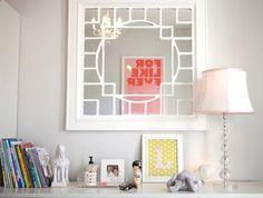 Pink-and-Yellow Girl's Nursery mirror lamp
